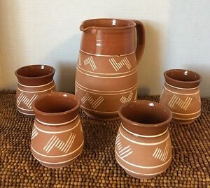 5-pc-Lapithos-Cyprus-Handmade-Terracotta-Pottery-Stoneware-Geo-PITCHER-4-CUPS
