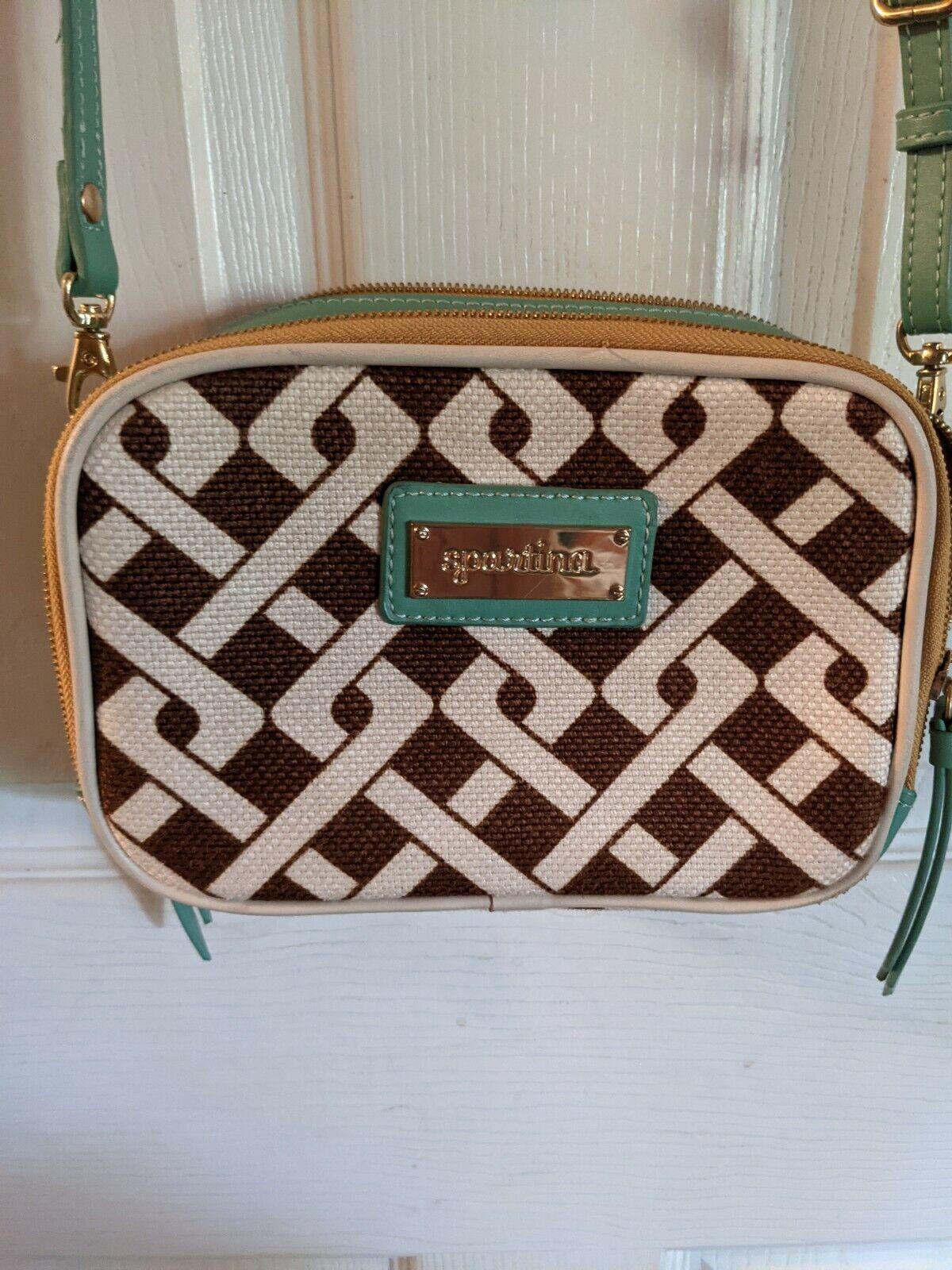 Spartina MADISON Brown Linen w Mint Green Leather Crossbody Handbag Dafuskie Is.