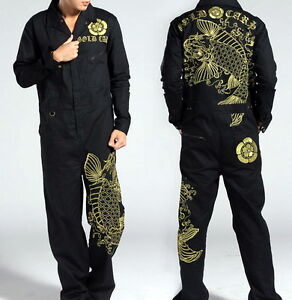 Japanese Pattern Embroidered Mens Coveralls Overalls Working Suit Cargo Trousers