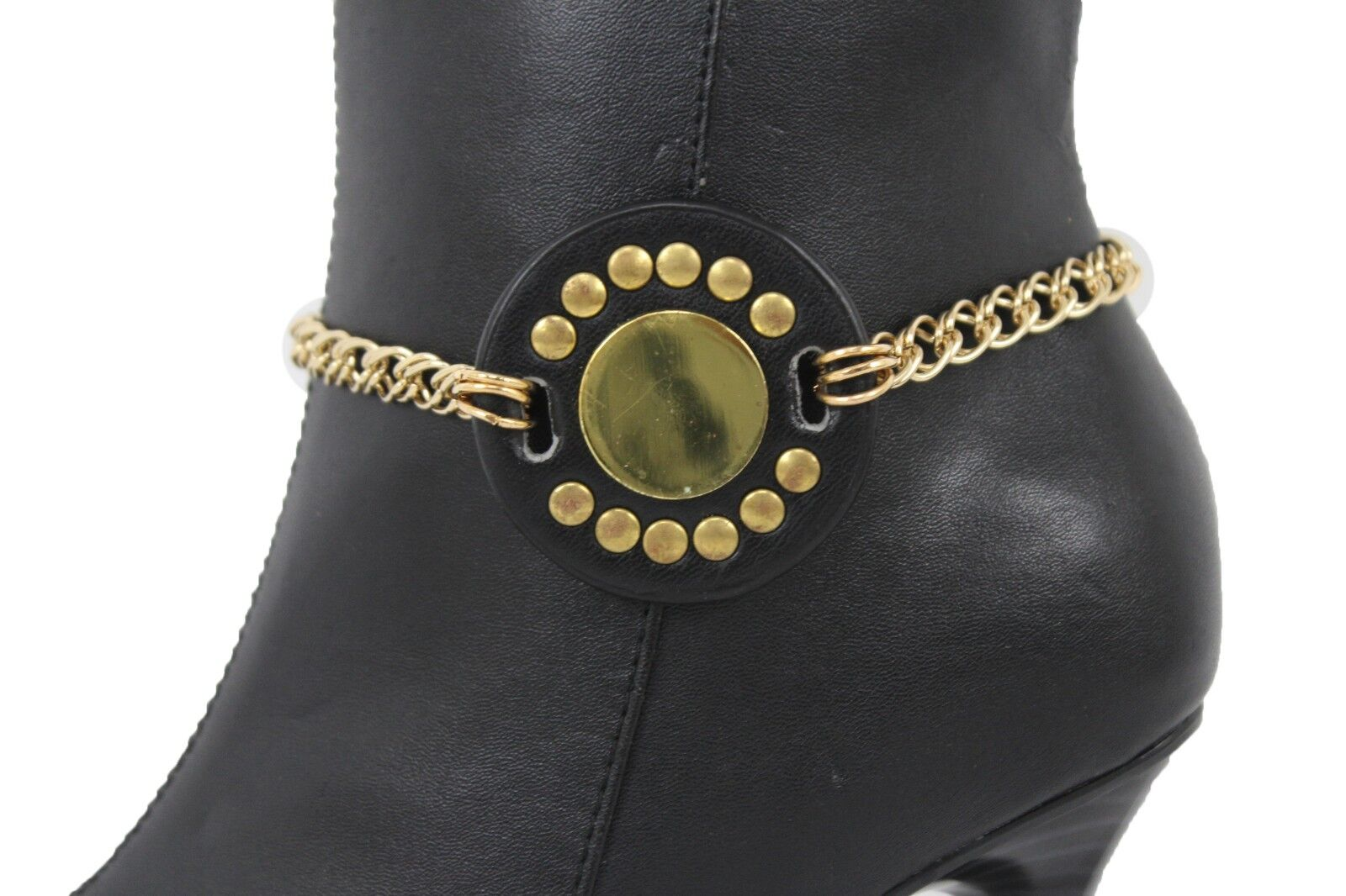 Women Gold Chain Boot Bracelet Anklet Shoe Charm Big Round Sun Set Bling Jewelry