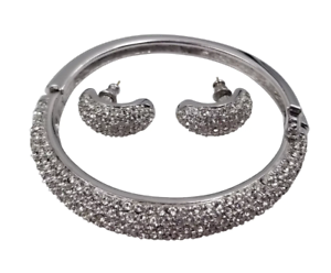 Gorgeous-Christian-Dior-Silver-Tone-Pave-Rhinestone-Bracelet-amp-Pierced-Earrings