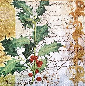 4 Single Table Paper Napkins for Decoupage Ilex with Script Holly Christmas