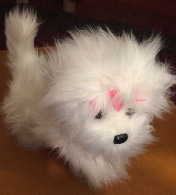 Douglas Maltese Puppy Dog Plush Fluffy White With Pink Bows 9 Inch