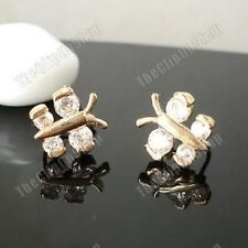 U CLIP ON non-pierced CZ crystal BUTTERFLY EARRINGS cubic zirconia 14K GOLD PLTD