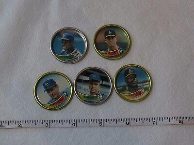 RARE set 5 metal discs caps baseball 1989 Mark McGwire Grace Doc Gooden Stewart