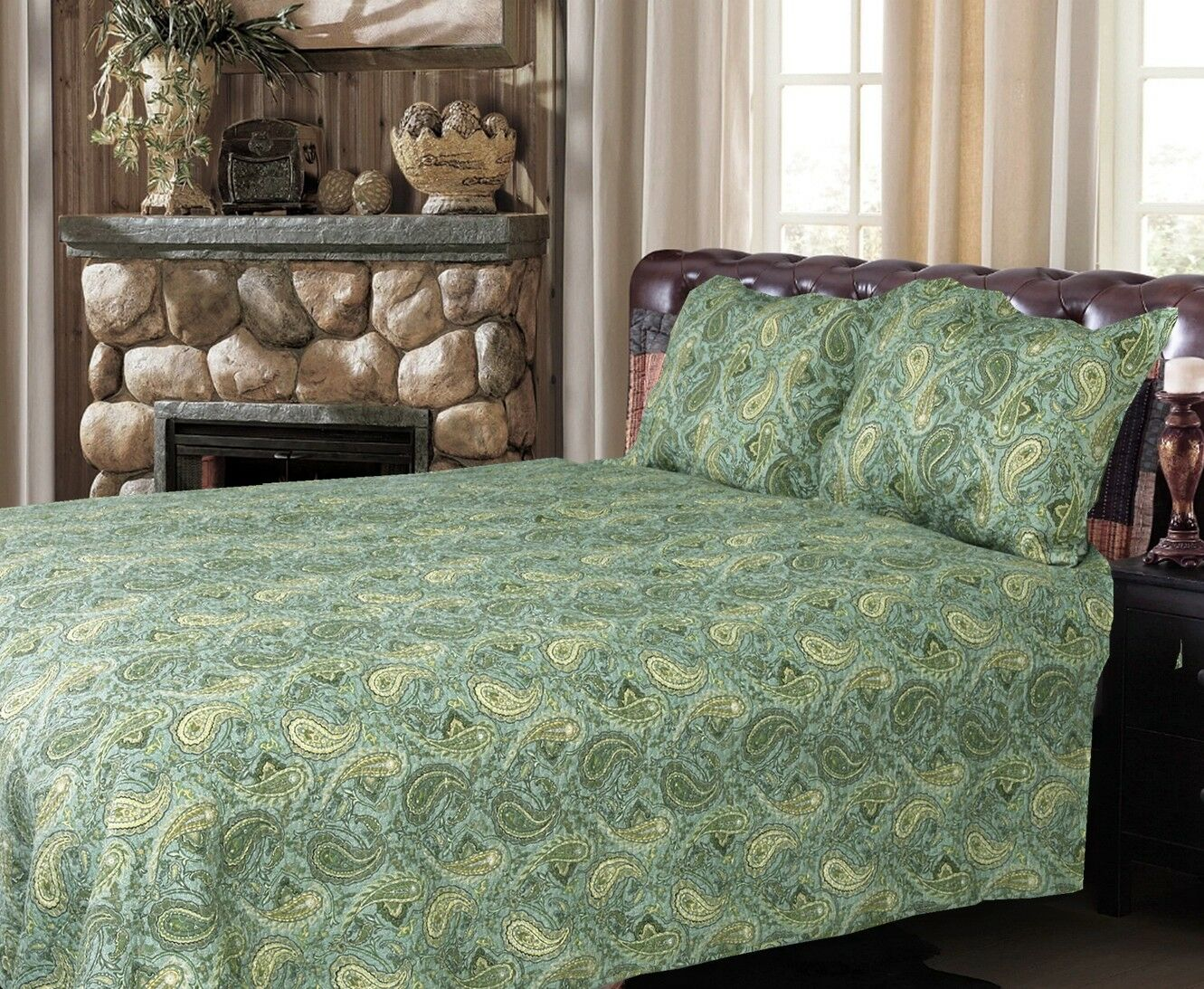 Grün Persian 100% Cotton 3-Piece Quilt Set, Bedspread, Coverlet