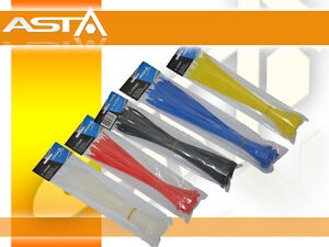 250x ZIP CABLE TIE SET 5x300mm ASSORTED COLOURS TIES HEAVY DUTY GARAGE SHOP ASTA