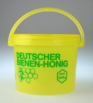 5 Honig-eimer 2,5 Kg (1,25€/stk.) • Kunststoff • Gelb • Grüner Aufdruck • Deckel