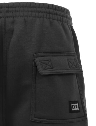 NEMP07 NE PEOPLE Mens Comfy Baggy Fleece Cargo Sweat Shorts with Drawstring