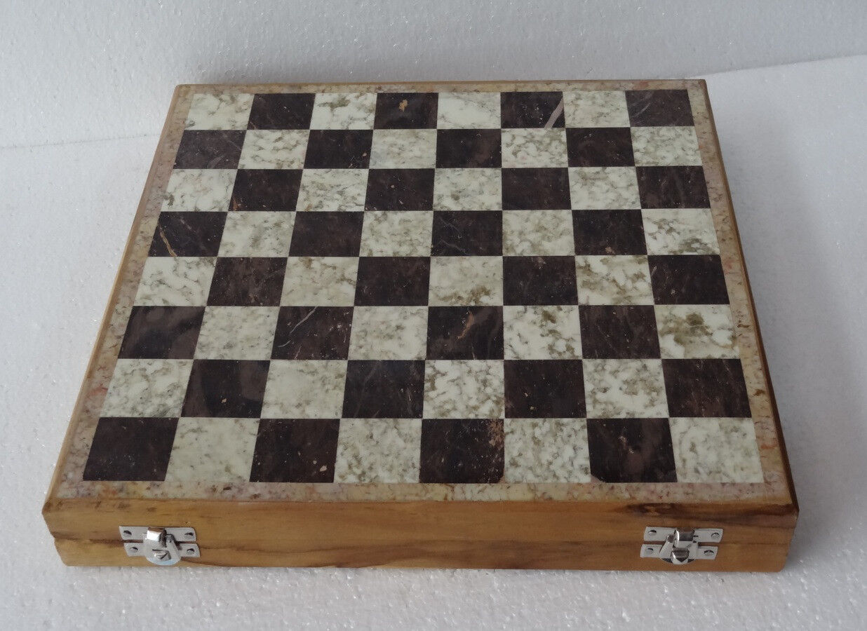 14 x14  Marble Ebony Chess Set Handcrafted gorara gorara gorara stone pieces Play & Gift Decor 57b0ce