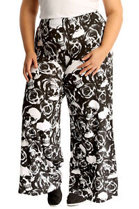 3271d257aa4 New Womens Plus Size Palazzo Trouser Ladies Skull   Roses Print ...