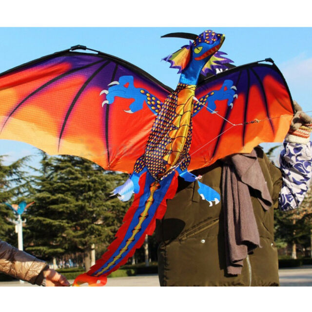 3d Dragon Kite Single Line With Tail Family Outdoor Sports Toy