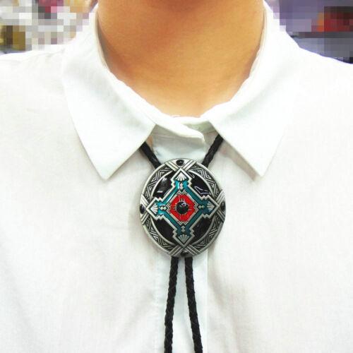 Western Cowboy Alloy Opal Pendant Leather Bolo Bola Tie Necktie  Rodeo Necklace