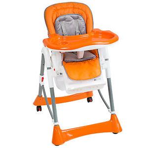 Trona de bebe Silla para niños con bandeja y bebés naranja de altura regulable