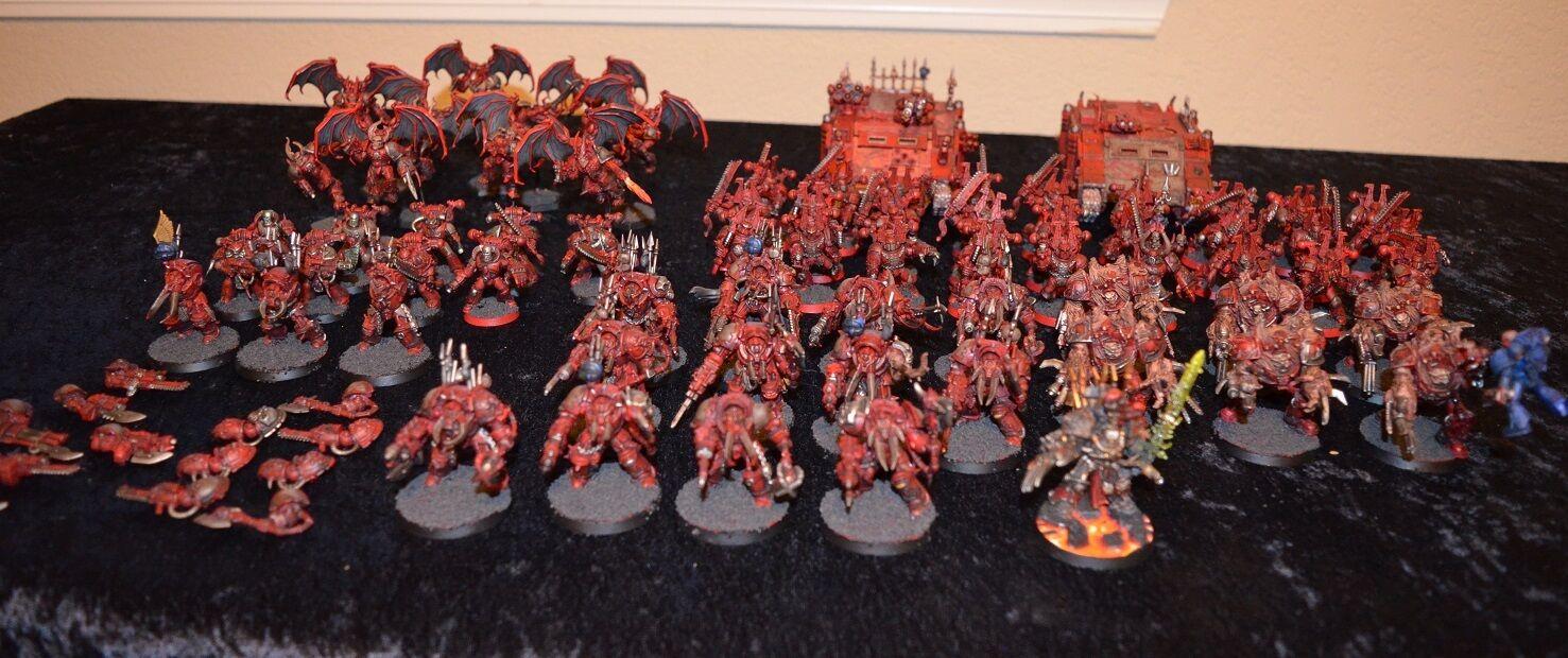 Chaos Space Marine Khorne army, obliterators, obliterators, obliterators, terminators, Abaddon, well painted 9a56c7