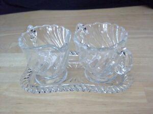 Fostoria-COLONY-Creamer-Sugar-amp-Tray-Elegant-Glass-Crystal-1980-039-s