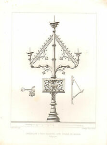 1851-FRENCH-ARCHITECTURAL-PRINT-CANDELABRA-THREE-BRANCHES-IN-THE-CHURCH-GAURAIN