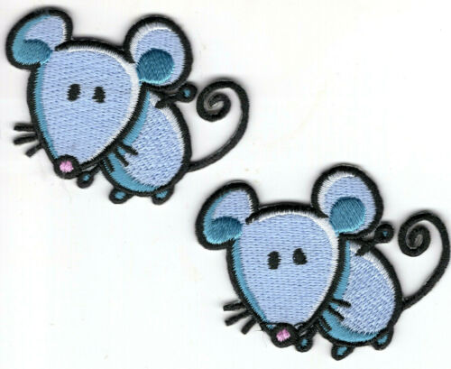 Mouse Set of 2 Iron On Patch Mice Farm Children