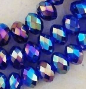 Diy Jewelry 1000pc Faceted Rondelle glass crystal 3*4mm Beads blue AB