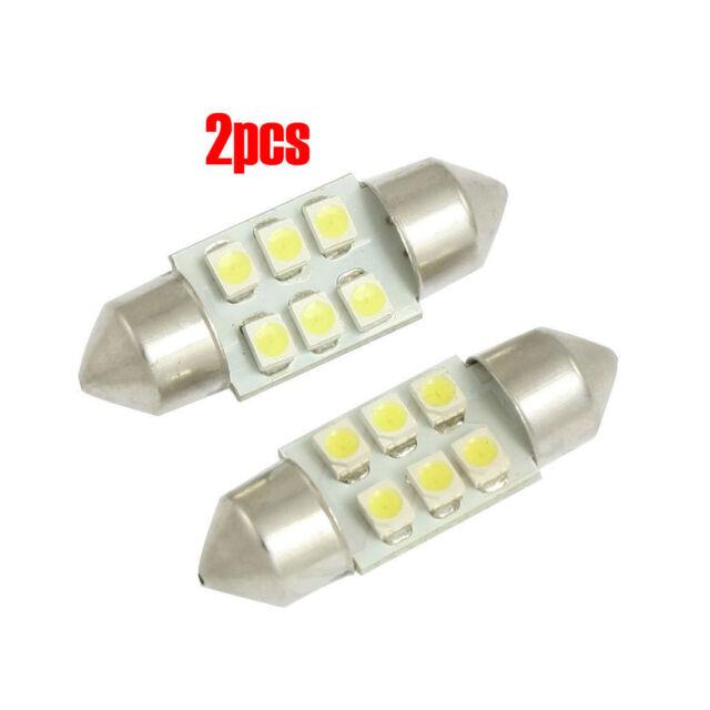 2Pcs 31mm 3528 SMD 6 LED White Festoon Map Light Lamp Internal