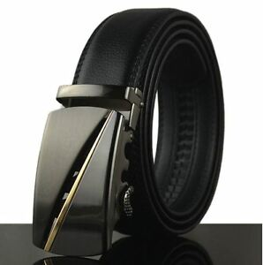 Mens-Black-Dress-Fashion-Leather-Belt-with-Auto-Lock-Stainless-Steel-Buckle-LX14