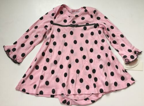 NWT Baby Nay Girl Pink Gray Polka Dot Tee Shirt Dress Panty One Piece 18 24 Mos