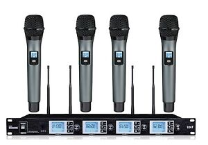 4x100 channel professional 4 channel uhf wireless handheld microphone system 680907500256 ebay. Black Bedroom Furniture Sets. Home Design Ideas