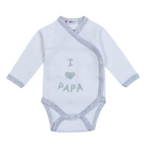 "Milarda Baby Body Wickelbody /""I Love Papa/"" Taille 50-74 blanc-gris"