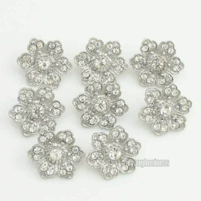 Lot 12 Clear Crystal Rhinestone Lovely Flower Buttons Silver Tone Sewing Craft