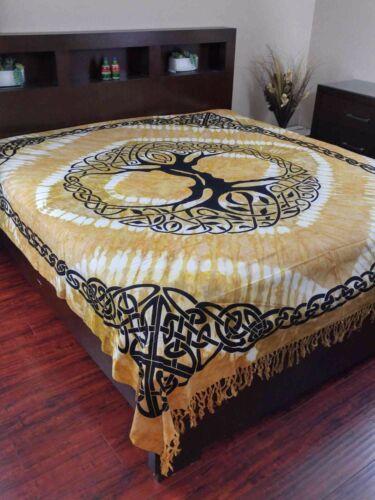 Celtic Tree of life Tapestry Heavy Cotton Spread Dorm Throw Beach Amber w//Fringe