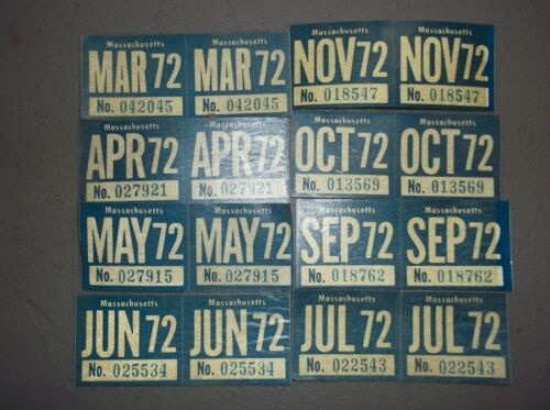 1972 Massachusetts Original Unused License Plate Expiration Stickers
