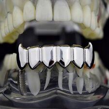 Fang Grillz Silver Tone Bottom Lower 6 Teeth Plain Fangs Hip Hop Vampire Grills
