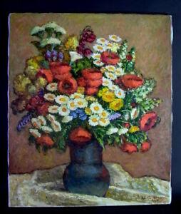 prachtvolles-Olgemaelde-auf-Leinwand-C-Dick-Stilleben-Blumenstrauss-in-Vase