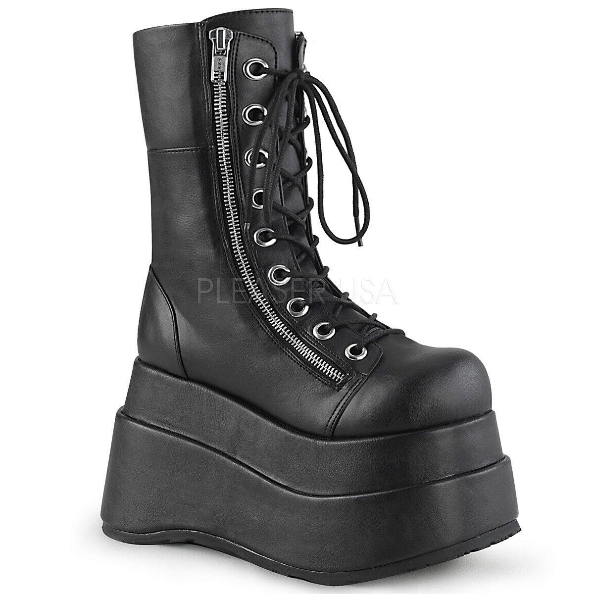 Demonia 4.5  Negro Mate De De De Plataforma botas Mitad de la pantorrilla Punk 6 7 8 9 10 11 12 d460a4