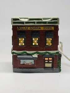 Vintage-DOLLAR-GENERAL-STORE-Ceramic-Lighted-Building-Christmas-RETAILER
