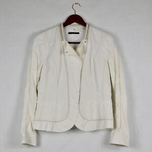 ELIE-TAHARI-Soft-White-Jacket-w-Stitching-amp-Metal-Trim-Detail-Coated-Cotton-Sz-M