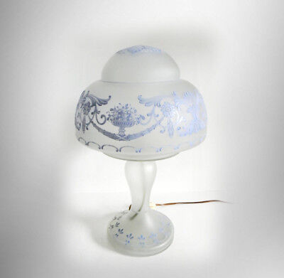 Frosted art glass lamp in blue floral enamelled design - FREE SHIPPING