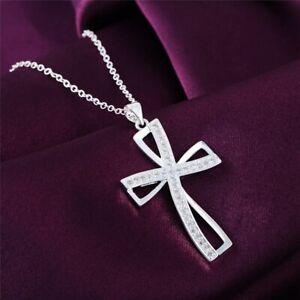 925-Sterling-Silber-Halskette-Zirkonia-Kreuz-Anhaenger-Geschenk