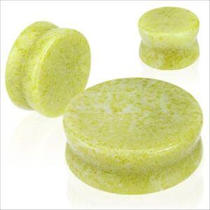 PAIR-Organic-Lemon-Yellow-Jade-Stone-Saddle-Ear-Plugs-Gauges-Double-Flare