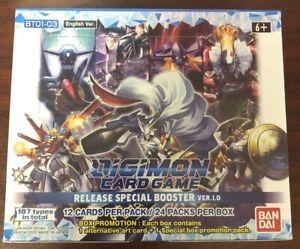 BANDAI DIGIMON Version 1.0 BOOSTER BOX TCG Card Game - FACTORY SEALED