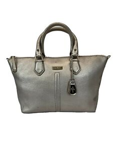 Cole-Haan-Silver-Gray-Leather-Shoulder-Bag