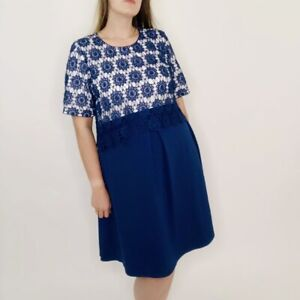 ASOS Maternity Lace Double Layer Blue & White Eyelet A-Line Mini Dress 12 Womens