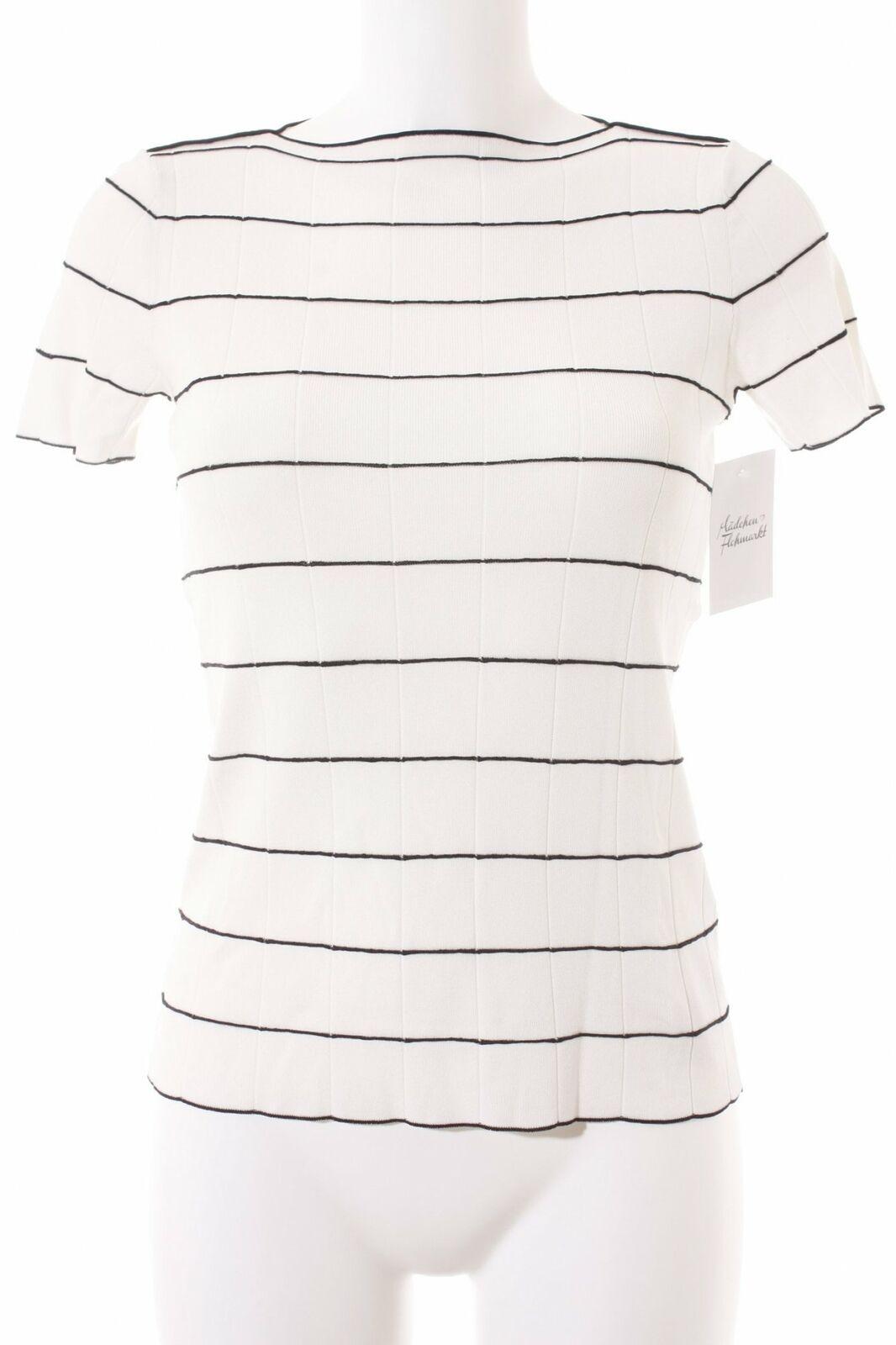ARMANI COLLEZIONI T-Shirt weiß-schwarz Streifenmuster Casual-Look Damen weiß