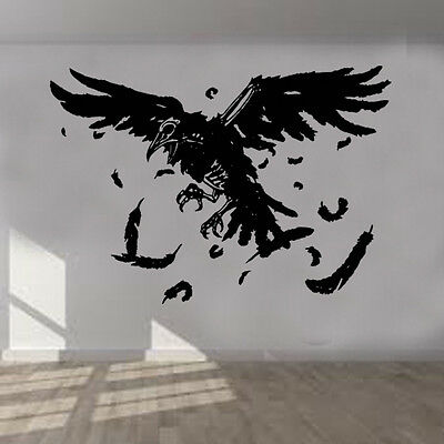 Vintage Gothic Skull and Raven wall art sticker GH14