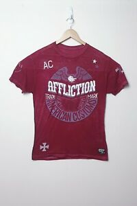 Affliction-American-Customs-Mens-Dark-Red-Distressed-Shirt-Size-L-Large