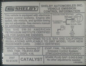 2007-Shelby-GT-Federal-Emissions-Certification-Decal-Includes-Three-Free-Decals