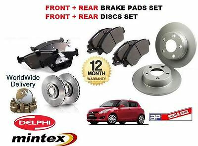 FOR SUZUKI SWIFT 1.6 VVT 2008 > FRONT + REAR BRAKE DISCS SET + DISC PADS SET