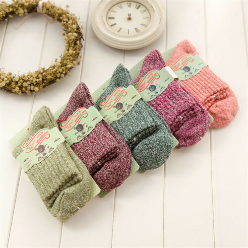 Women Wool Cashmere Thick Winter Warm Soft Solid Casual Sports Socks Christmas