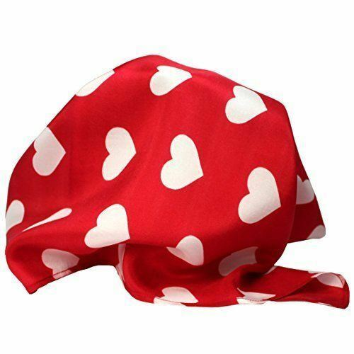 """Sweet Heart Silk Pocket Square by ROYAL SILK - Red Silk White Hearts - 16"""" Squar"""