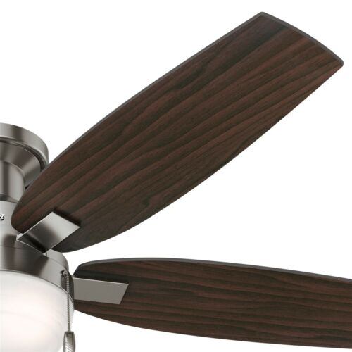 """Hunter 52/"""" Low Profile Contemporary Ceiling Fan with LED Light in Brushed Nickel"""